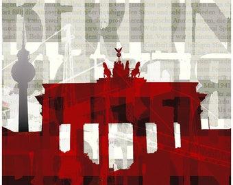 Brandenburg Gate Berlin Red