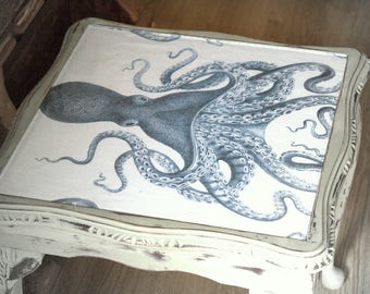 Vintage Style Octopus Glass Top Side Table