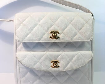 Vintage white Chanel caviar leather handbag 1989 - 1991