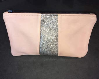 Old lamb leather pouch pink