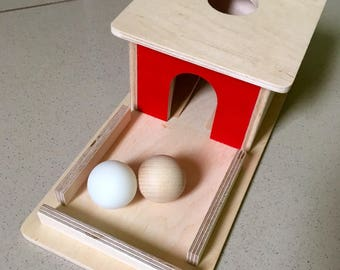 Montessori Toddler permanence box with tray and balls