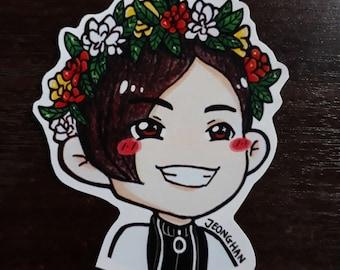 S202 Jeonghan Flower Crown Sticker