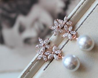 Set of 2, 3, 4 Rose Gold Bridesmaid  Earrings ,Crystal Pearl Drop Earrings, Vintage Style Earrings, Bridal Earrings, Wedding Earrings