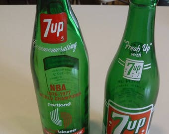 Seven Up Bottle NBA Portland Trailblazers season record 1976-77 + another old 7-Up bottle