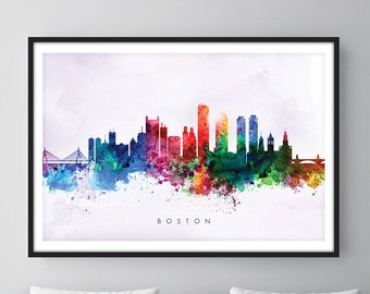 Boston Skyline, Boston Massachusetts Cityscape Art Print, Wall Art, Watercolor, Watercolour Art Decor [SWBOS02]
