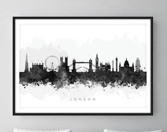 London Skyline, London Cityscape England, Art Print, Wall Art, Watercolor, Watercolour Art Decor [SWLDN05]