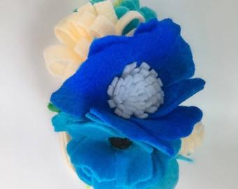 Blue Felt Flower Crown