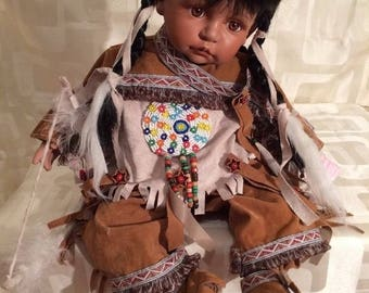 "Red Indian Stamped Porcelain Doll 16""Leonardo Collection"