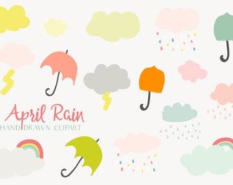 April Rain Hand Drawn Clip-art