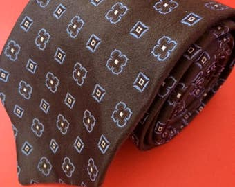 Vintage Men's Brown Patterned Faconnable Tie