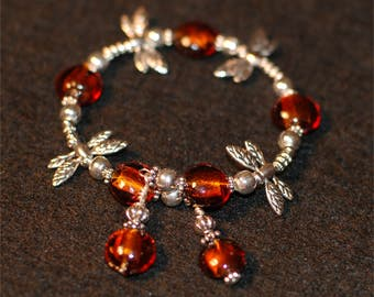 Bracelet with Amber. Silver and Dragonfly Beads