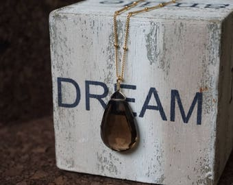 Smoky Quartz gemstone necklace with 14k gold filled wire and gold filled satellite chain, Almond shape