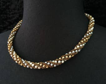Necklace Pearly pearls - Golden silver propeller