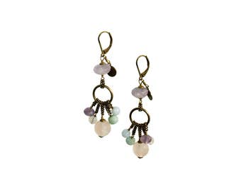 Caramelle Earrings Rosa Lilla, Italian Jewels, Semiprecious Stones and Brass