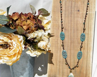 Brown and Teal Crochet Necklace