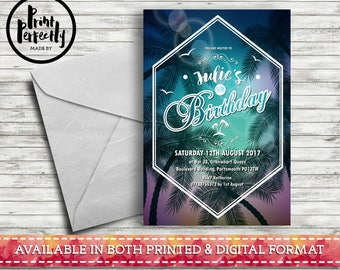 Bohemian Summer Palm Tree Sunset - Luxury Customised Birthday Party Invitations (Printed & Digital)
