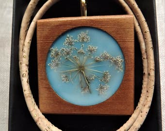 Embedded flower Encaustic Beeswax brooch/pendant and convertor with eco friendly cork cord natural and sustainably created jewellery..