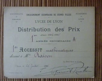 Vintage French School Prize Certificate