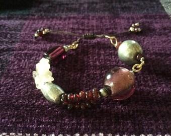 garnet and quartz adjustable bracelet