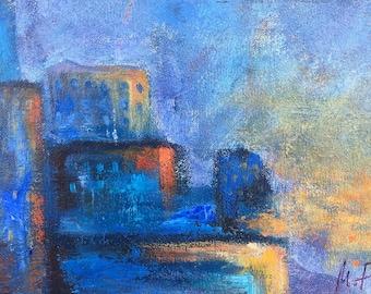 Twilight - point of view #11, original art, landscape, acrylic, semi-abstrait, 6 3/8 x 11 1/8 in. (16 x 28.5 cm), landscape, acrylic.