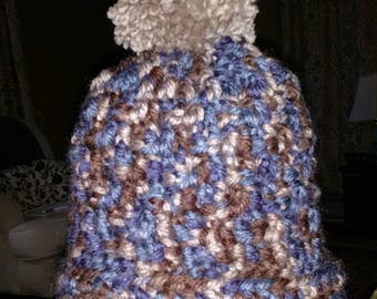 Multicolored Pompom Hat