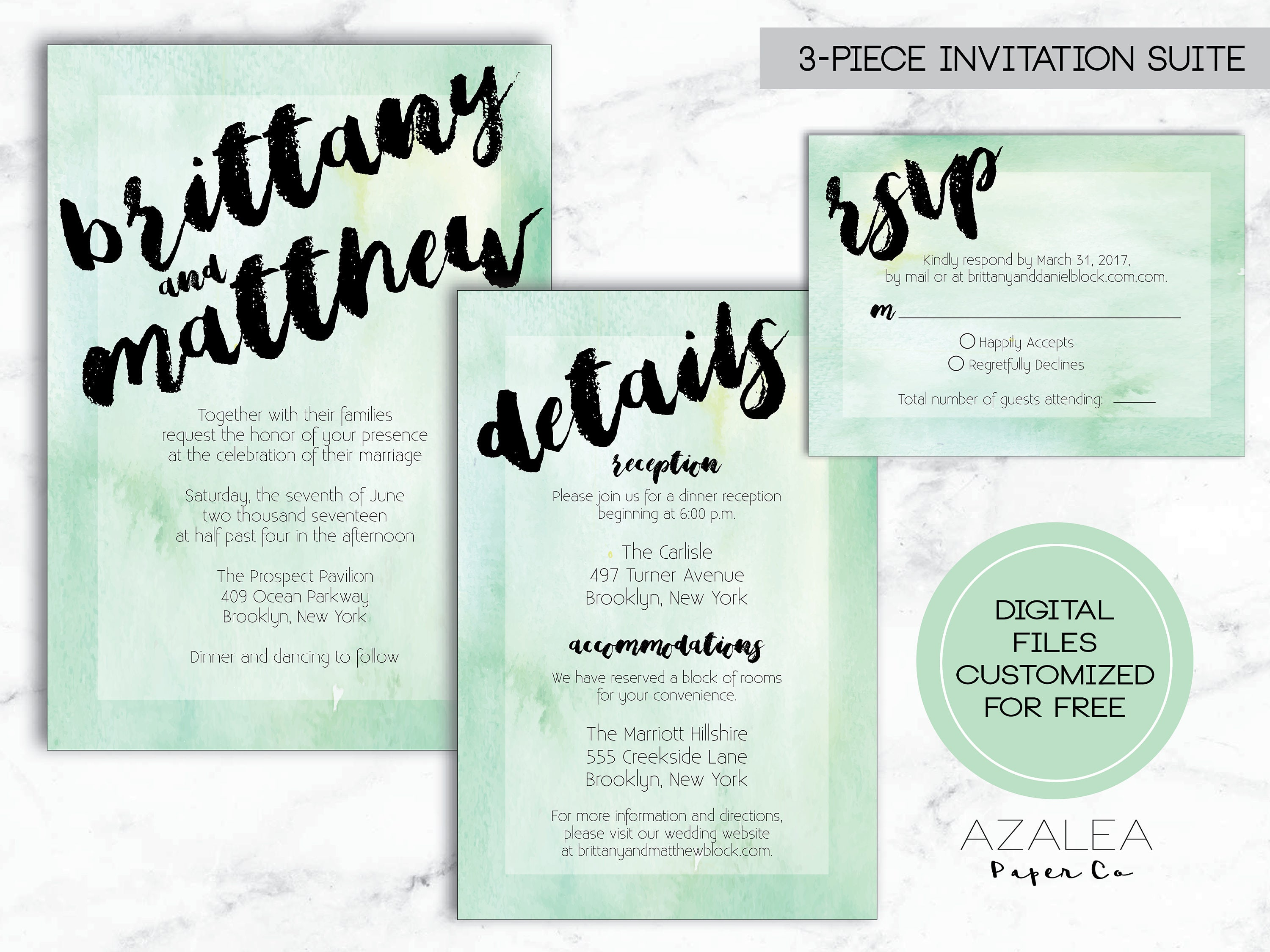 Mint Green Watercolor Wedding Invitation 3-Piece Suite | Beachy ...
