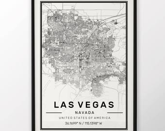 Las Vegas City Map Print, Modern Contemporary poster in sizes 50x70 fit for Ikea frame All city available London, New york Paris Madrid