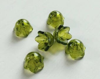 Hand Painted Flower Beads, Lucite Flower, Small Bell Deep Olive, 8