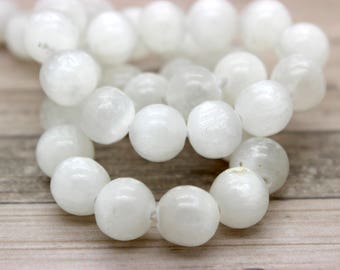 Selenite White Round Gemston Beads (4mm 6mm 8mm 10mm 12mm)