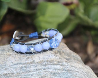 Blue Lace Agate, Gemstone Wrap Bracelet, Black Leather Cord, Wrap Bracelet