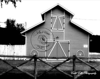Barn (Black and White Photo Print) Small
