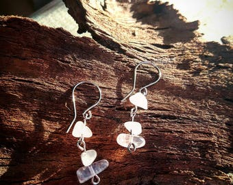 Cherry Blossom Rose quartz dangle earrings