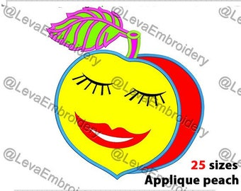Peach  Applique Design. Machine embroidery design. 25 sizes. Swordfish embroidery design. Peach applique. Machine embroidery Peach.