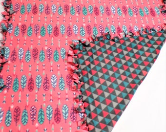 Feathers and Triangles Fleece Blanket