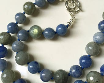 Hand-knotted Blue Aventurine and Labradorite Necklace