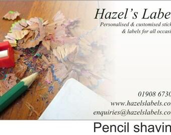 Customised rectangular business label / sticker - Pencil Shavings