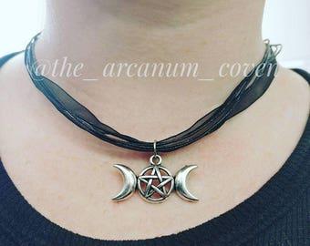 Triple Moon organza necklace
