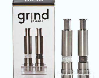 Grind Gourmet Original Pump & Grind One-Hand Operated Salt and Pepper Grinder Set