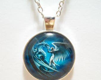 Angel and Dragon Glass Cabochon Pendant Necklace SC544