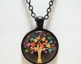 Autism Puzzle Tree Glass Cabochon Pendant Necklace SC556