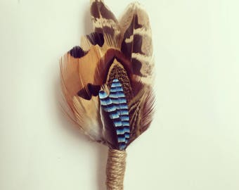 Pheasant Feather Brooch Button hole