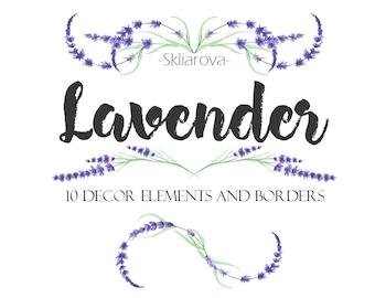 Watercolor lavender decor Digital lavender element Lavender decor border Handpaint lavender Provence flower Lavender decoration Frame border
