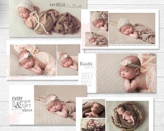 Newborn Album Photography Template - Baby Book Template for Photographers - 10x10 Template -Watercolor Album - Baby Template for Photography