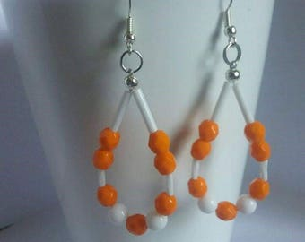 Tennessee Vols orange and white earrings