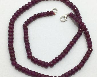 Ruby Faceted Rondelle 140Cts 5mm to 6mm Beaded Necklace,Ruby Beads, Rondelle Beads,Gemstone beads,Precious Stone Beads