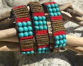 Handmade African leather beaded wrap bracelet. 100% of sales go to the O'Brien School for the Maasai non profit.