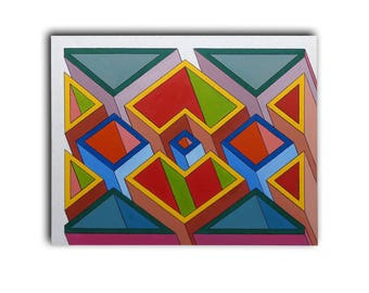 "Paintings - three dimensional geometric abstract painting ""Buildings"". (Canvas Chassis: 70 x 90 cm.)"