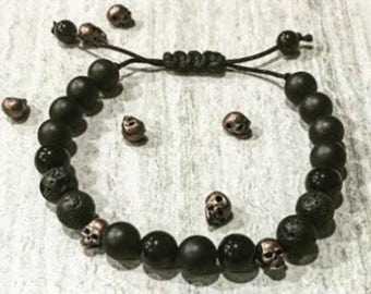 Skull Collection Bronze  8mm Black Onyx and Lava Rock Macrame Bracelet