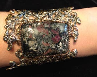 Brass, copper and fine silver cuff bracelet with eudialyte