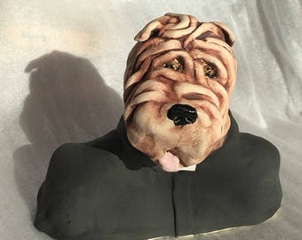 Here's Victor Vicar a stoneware ceramic handmade cute whimsical dog by Jacquie Cross